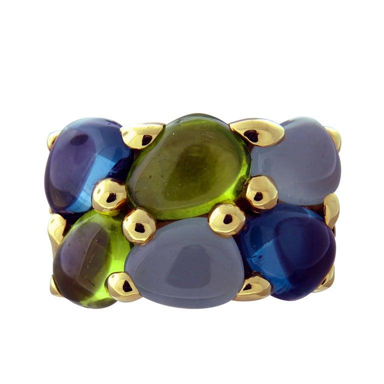 Pomellato Sassi Gold Topaz Peridot Topaz Aquamarine Ring