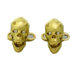 Deakin & Francis Diamond Eye Gold Devil Skull Cufflinks