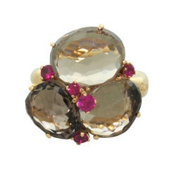 Pomellato Bahia Gold Ruby Smokey Quartz Ring