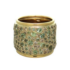 Pomellato Sabbia Gold Diamond Green Sapphire Band Ring