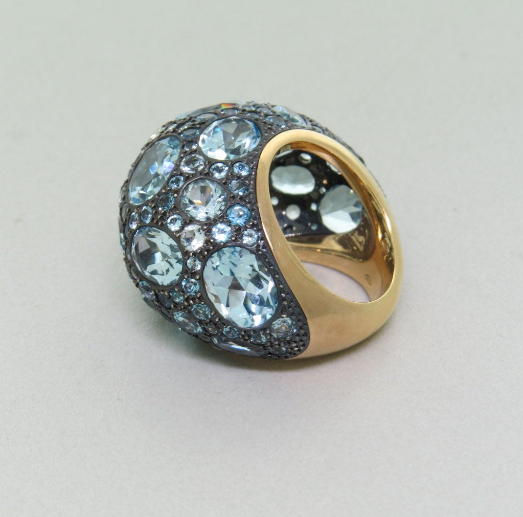 pomellato tabou blue topaz silver gold ring for sale at