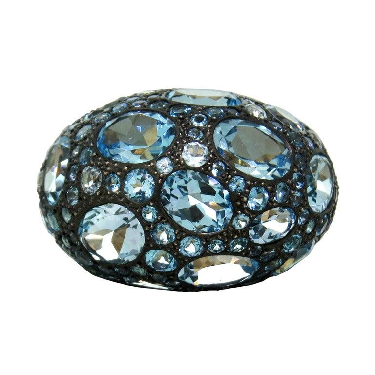 Pomellato Tabou Blue Topaz Silver Gold Ring