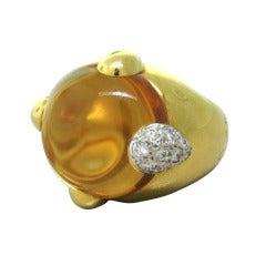 Pomellato Gold Quartz Diamond Ring