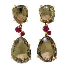 Pomellato Bahia Smokey Quartz Ruby Gold Earrings