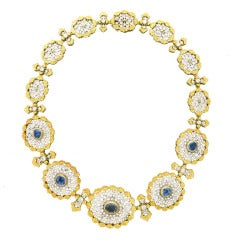 Important Buccellati Sapphire Diamond Necklace