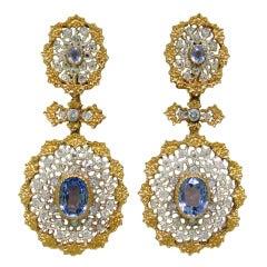 Important Buccellati Sapphire Diamond Earrings