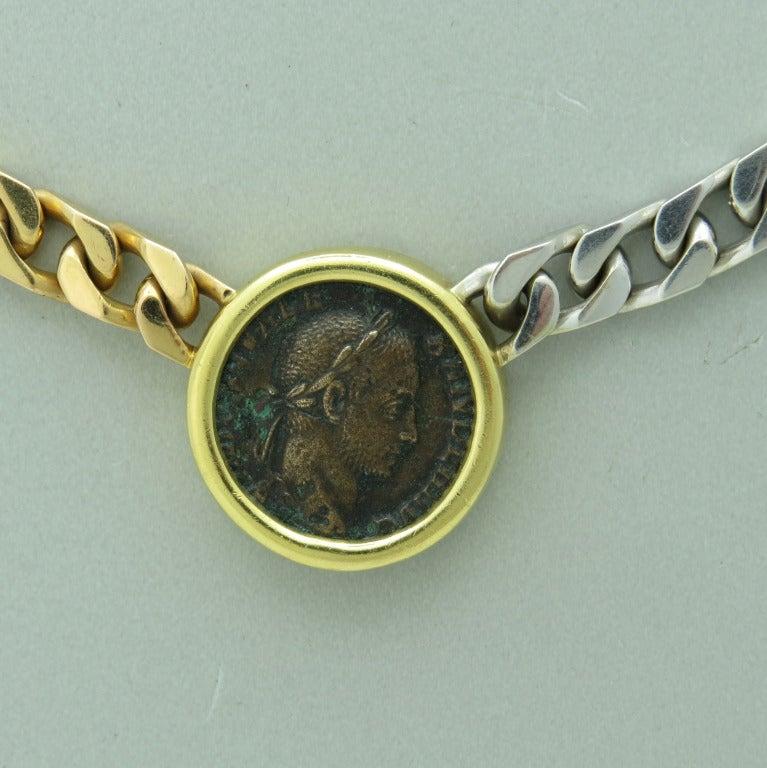 massive bulgari gold severus alexander roman ancient coin necklace 2