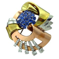 Retro Gold Platinum Diamond Sapphire Brooch