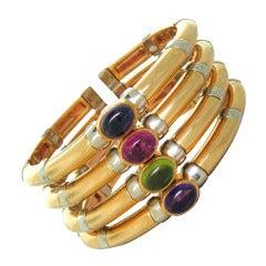 Massive Bulgari Gem Set Gold Bracelet