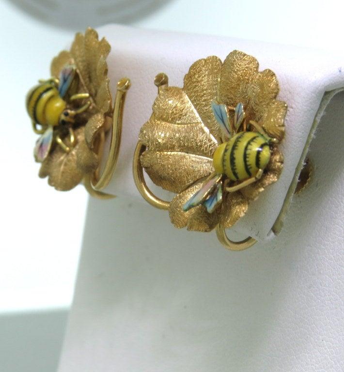 antique enamel gold bee earrings at 1stdibs