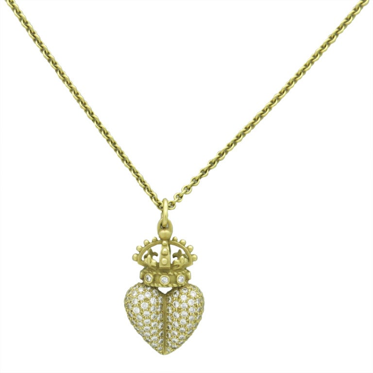 Barry kieselstein cord diamond gold crown heart pendant for Barry kieselstein cord jewelry