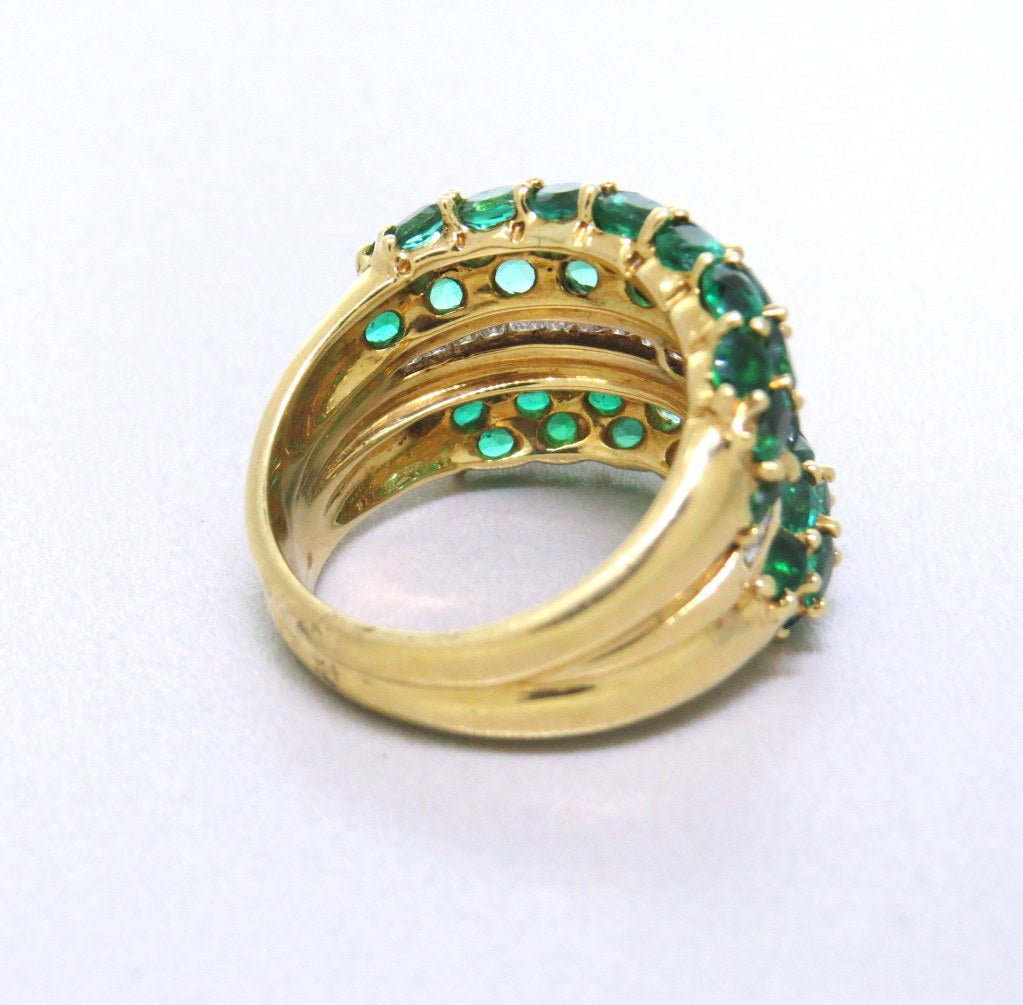 modern emerald gold dome ring at 1stdibs