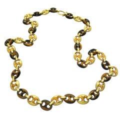 1970s Gold Tiger Eye Link Necklace