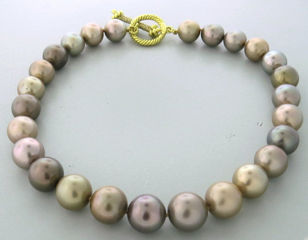 Mish New York Pearl Necklace With Diamond Gold