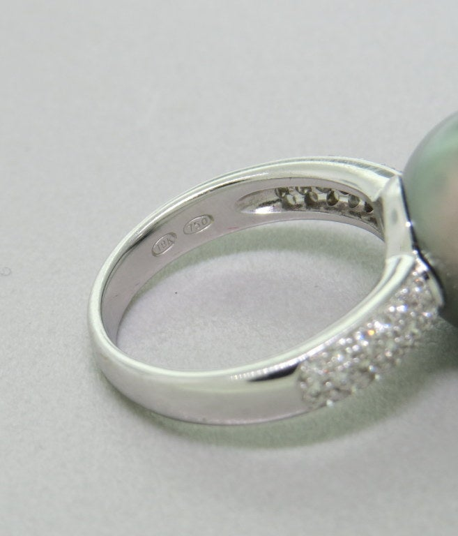 Gray pearl ring : Modern tahitian gray pearl diamond gold ring at stdibs