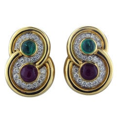 DAVID WEBB Emerald Ruby Diamond Gold Platinum Earrings