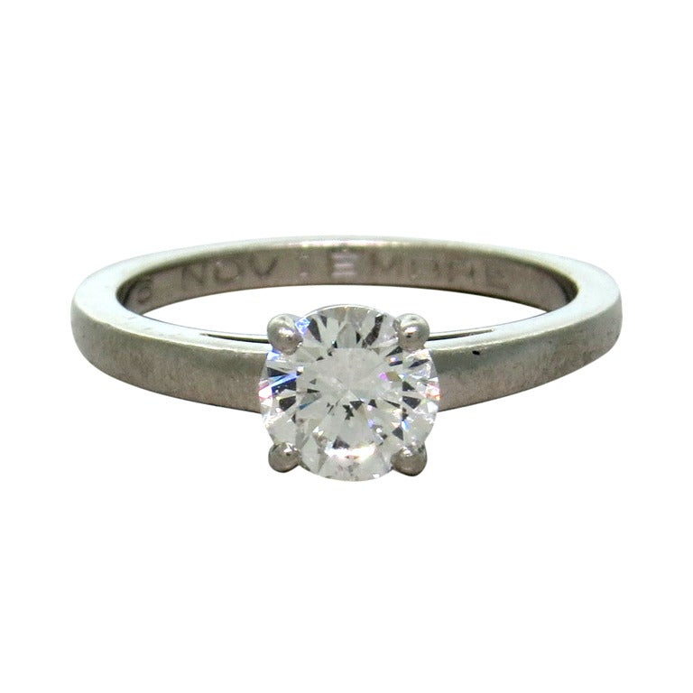 Bulgari Griffe Diamond Platinum Engagement Ring For Sale