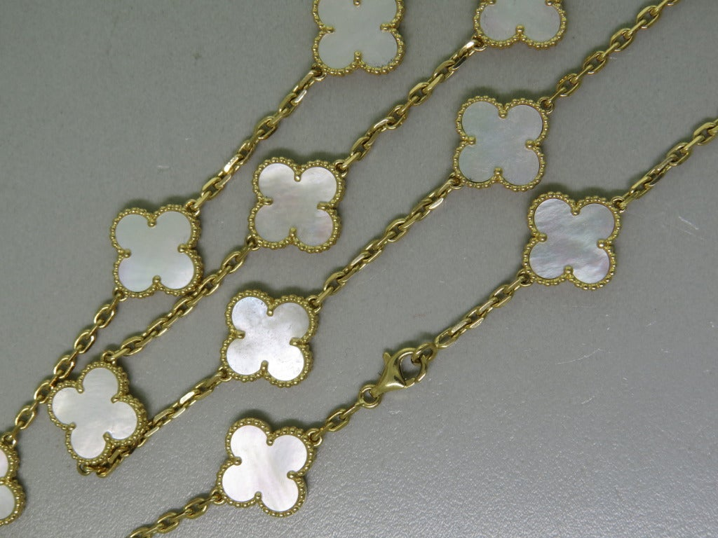 Van Cleef & Arpels Alhambra Mother of Pearl Gold Necklace 2