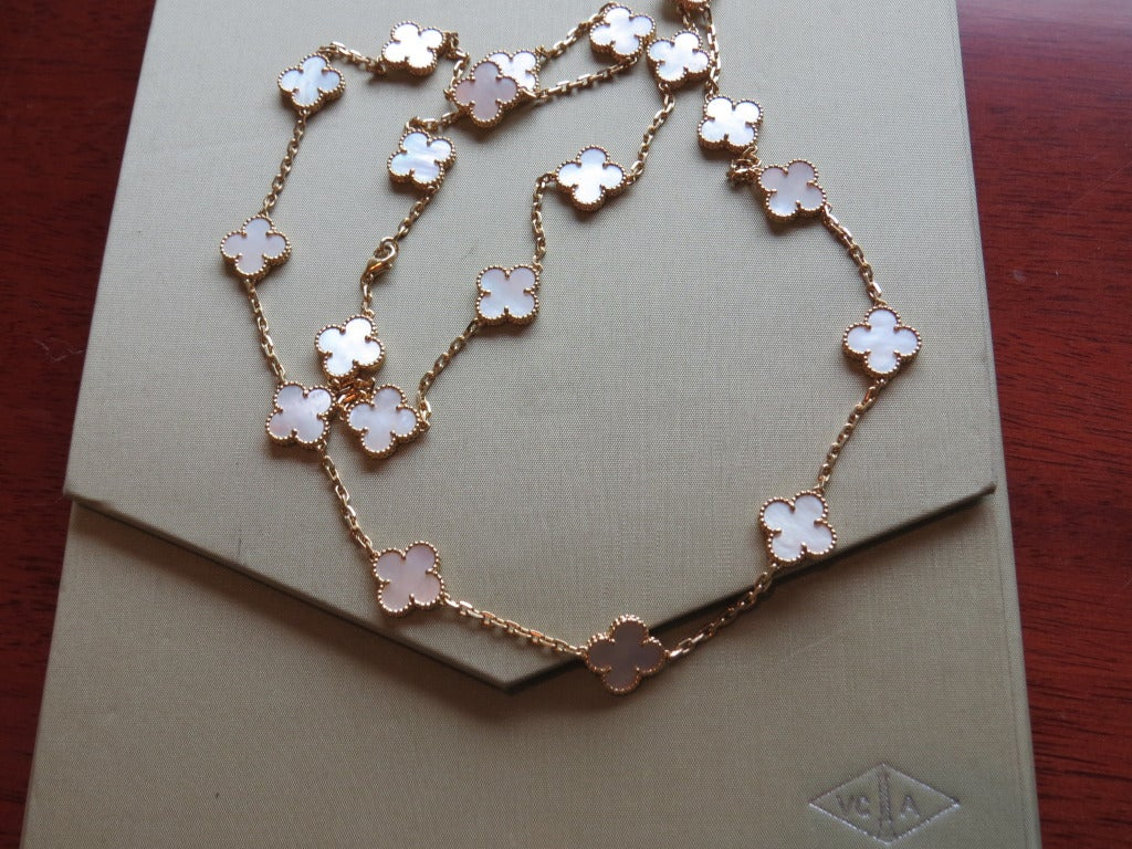 Van Cleef & Arpels Alhambra Mother of Pearl Gold Necklace 4