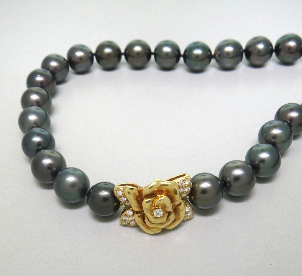 Mikimoto Pearls Necklace: Mikimoto Black South Sea Pearl Gold Diamond Necklace At