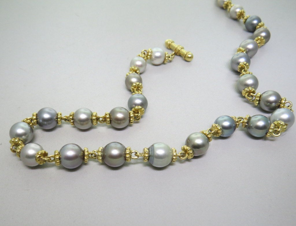 modern tahitian pearl gold toggle necklace at 1stdibs