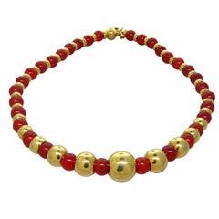 Marina B Sfera Gold Carnelian Bead Necklace