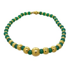 Marina B Sfera Gold Chrysoprase Bead Necklace