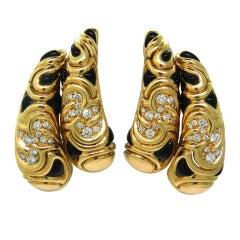 Marina B Huda Gold Diamond Onyx Earrings