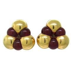 Vintage Marina B Sfera Carnelian Gold Earrings