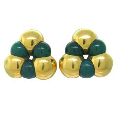 Marina B Sfera Gold Chrysoprase Earrings