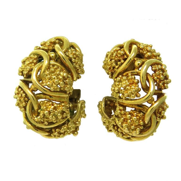 1970s Tiffany & Co Gold Hoop Earrings For Sale