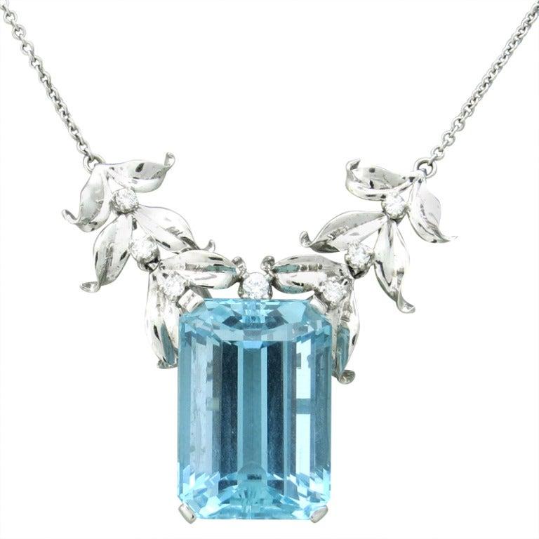 1950s aquamarine gold pendant necklace at 1stdibs