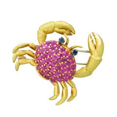 Tiffany & Co Gold Ruby Sapphire Crab Brooch Pin