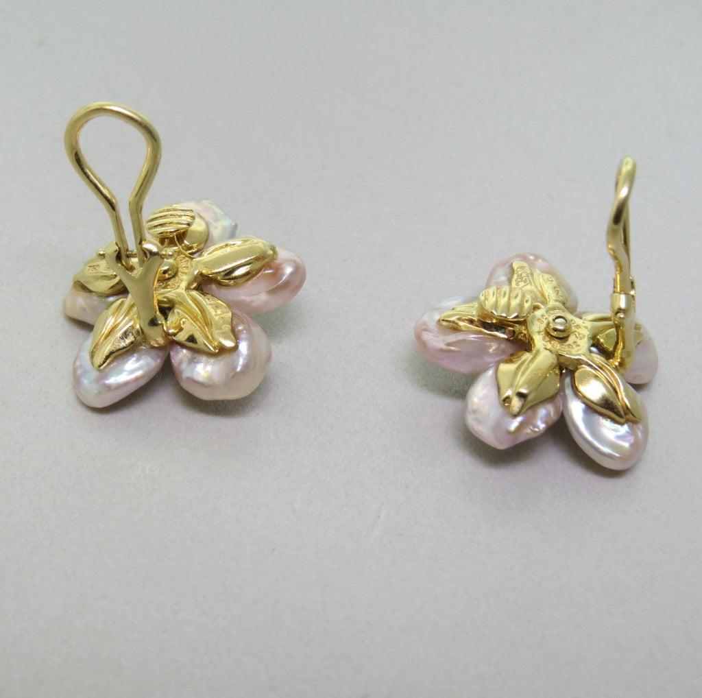 Seaman Schepps Gold Diamond Sapphire Mother Of Pearl Biwa Flower Earrings 2