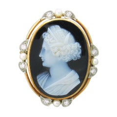 Antique Hardstone Cameo Pearl Diamond Gold Brooch Pin
