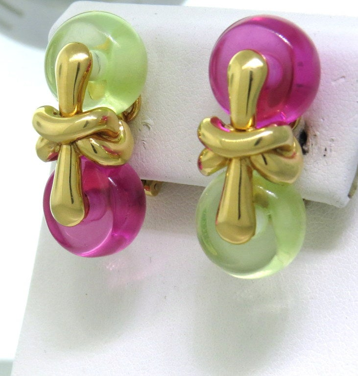 1990s Marina B Nodo Gold Pink Green Stone Earrings 2