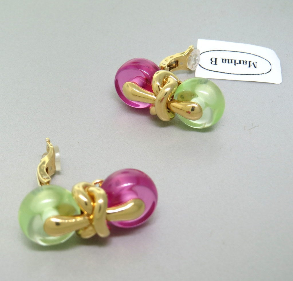 1990s Marina B Nodo Gold Pink Green Stone Earrings 3