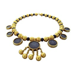 Marina B Bedouin Gold Coin Onyx Necklace