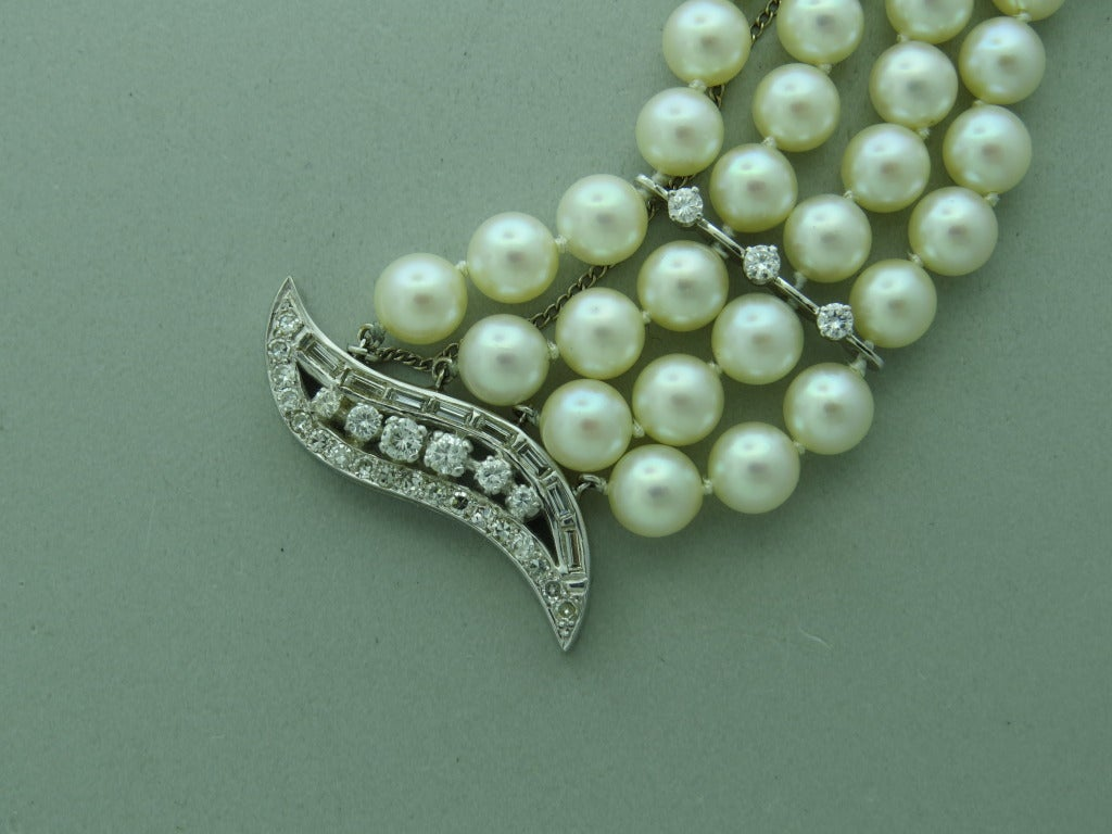1950s Gold Diamond Pearl Three Strand Bracelet At 1stdibs
