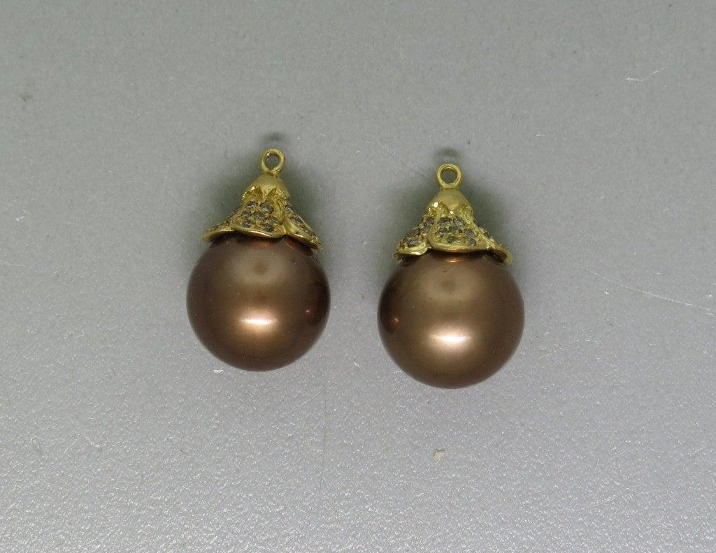 Modern Chocolate South Sea Pearl Diamond Gold Earring Jackets 2