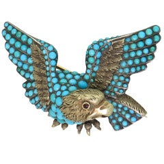 Antique Turquoise Silver Gold Eagle Brooch