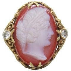 Antique Hardstone Diamond Gold Cameo Ring