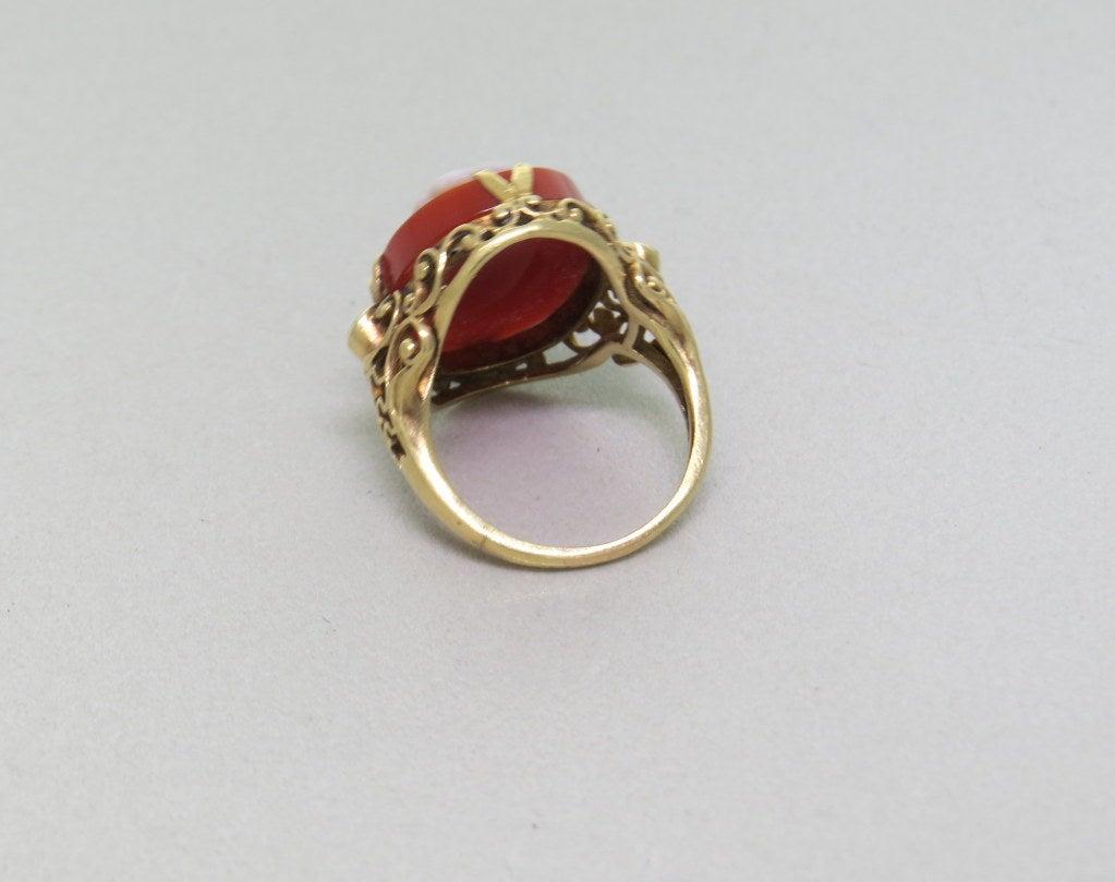 Antique Hardstone Diamond Gold Cameo Ring At 1stdibs