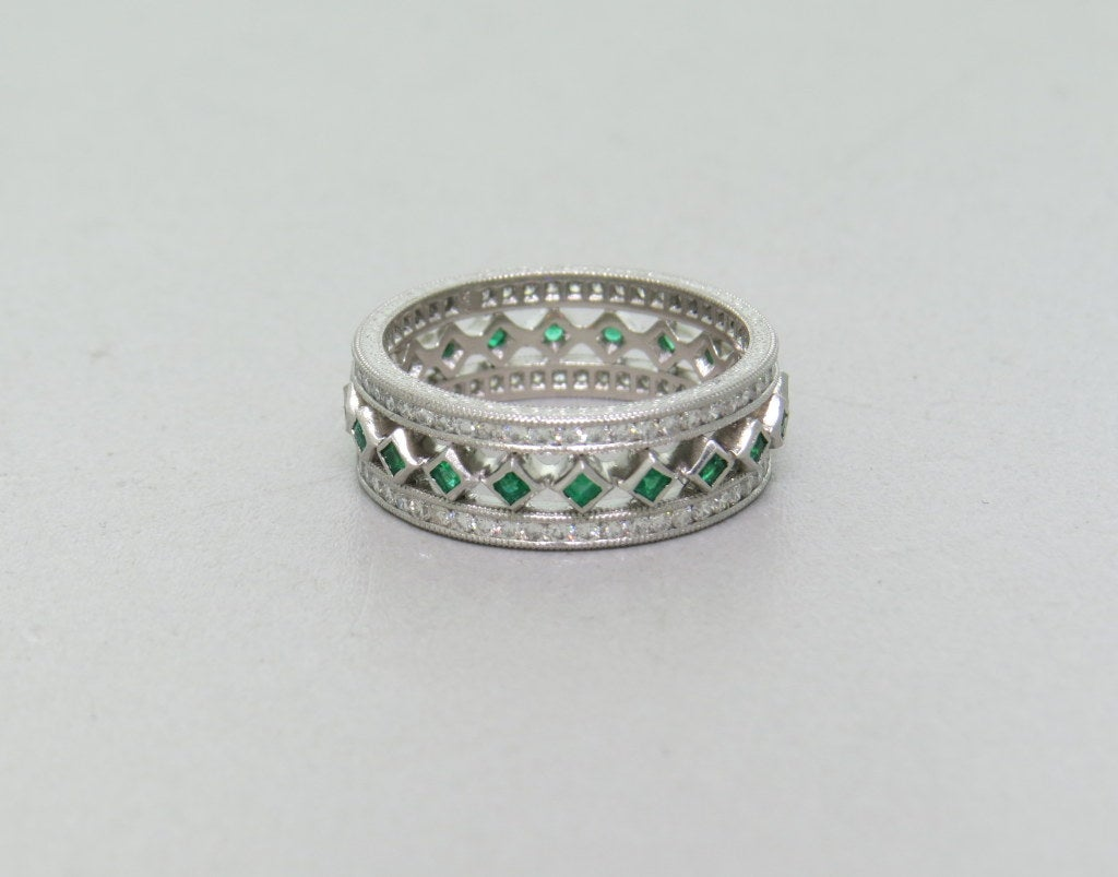 emerald platinum band ring at 1stdibs