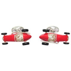 Deakin & Francis Sterling Silver Red Enamel Racing Car Cufflinks