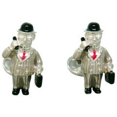 Deakin & Francis Sterling Silver Enamel Business Man Cufflinks