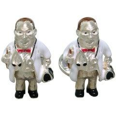 Deakin & Francis Enamel Sterling Silver Doctor Cufflinks