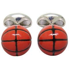 Deakin & Francis Sterling SIlver Enamel Basketball Cufflinks