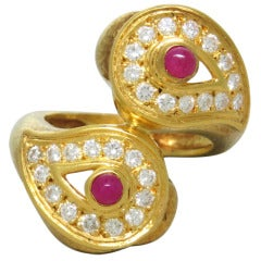 Zolotas Ruby Diamond Gold Ring
