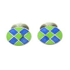 Deakin & Francis Blue Green Enamel Sterling Silver Oval Cufflinks